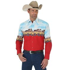 Embrace your western roots with the Wrangler Checotah Canyon Snap Shirt. Cowgirl Outfits, Western Outfits, Western Shirts, Western Wear, George Strait, Grunge Outfits, Mexican Shirts For Men, Aztec Shirt, Westerns