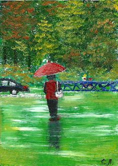 Original ACEO landscape oil painting RED UMBRELLA  2.5 by SyrovArt, $12.00