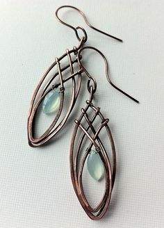 Copper criss-cross elongated earrings | Flickr - Photo Sharing!