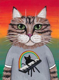 Maine Coon Keyboard Cat Folk Art Portrait by KilkennycatArt