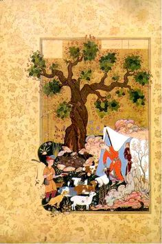 Persian Painting 'Majnum Comes Before Layla disguised as a sheep - Ali Ashgar