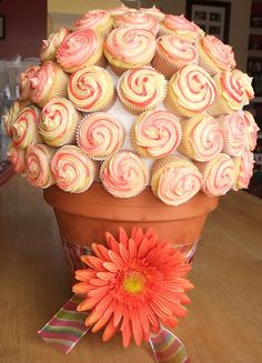 Coral Colour Daisy Bouquet Cupcakes