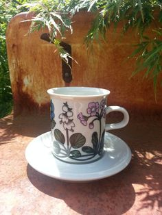 1970's Arabia of Finland coffee cup and saucer Flora pattern, designed by Esteri…