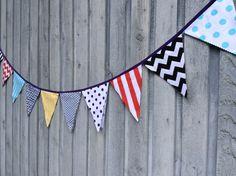 Bunting Flags, Birthday Banner, Party Decor, Fabric Bunting, Kids Room Decor, modern Geometric prints purple, black, Aqua, yellow, red