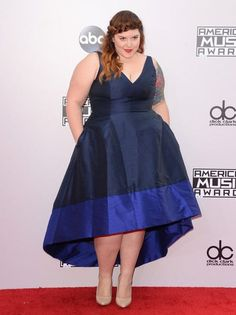 Mary Lamber at the 2014 AMA's\ http://stylishcurves.com/mary-lambert-hits-the-american-music-awards-red-carpet-in-a-chic-navy-fit-flare-dress/