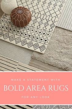 Bold geometric area rugs elegantly anchor any space. This pattern reminds me of Joanna Gaines style. #bold #patterns #sponsored