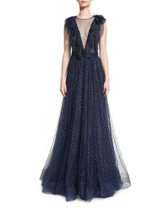Sleeveless+Illusion+V-Neck+Ruffled+Gown,+Abyss+Blue+by+Jenny+Packham+at+Neiman+Marcus.