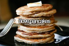 Me and my Bella bear ( my furry 4 legged baby) have pancakes every morning...no syrup or butter, just dry.  HF~