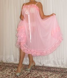 VTG Lingerie Double layer Nylon Slip FULL Sweep Negligee Babydoll Nightgown M-5X