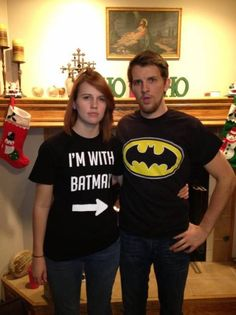Lol just for the Batman and Robin thing XD How bad do you want me to get the I'm with Batman shirt James? Superhero Costumes Kids, Best Superhero, Batman Shirt, Batman Outfits, Best Tank Tops, Super Hero Costumes, Couple Outfits, Couple Shirts, Graphic Shirts