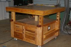 A torsion box assembly table with an integrated scissor jack!