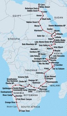 Cairo to Cape Town overview Travel Route, Travel Maps, Africa Travel, Us Travel, Places To Travel, Travel Destinations, World Geography, Teaching Geography, Cairo City