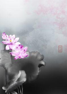 #中国风#碧荷生幽泉,朝日艳且鲜。秋花冒绿水,密叶罗青烟。秀色粉绝世,馨香谁为传?  http://t.hujiang.com/album/1414092090/
