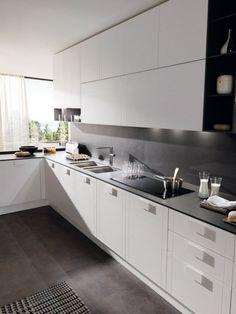Kitchen from euromobil  White front matt black top/back