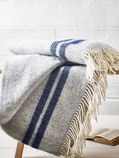 Soft Wool Throw - Blue French Stripe