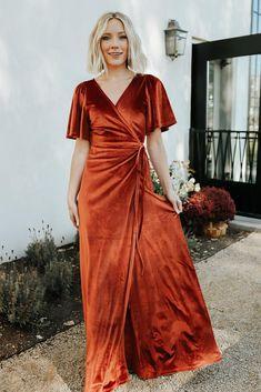 Maxi Wrap Dress, Dress Up, Fancy Dress, Velvet Bridesmaid Dresses, Orange Bridesmaids, Velvet Dresses, Bride Dresses, Maxi Dresses, New Wardrobe