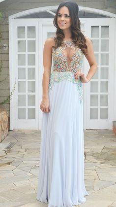 vestido de festa bordado azul claro