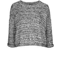 TOPSHOP PETITE Salt and Pepper Slouchy Sweater ($70) ❤ liked on Polyvore featuring tops, sweaters, shirts, jumpers, blusas, monochrome, petite tops, petite sweaters, slouch shirt and slouchy shirt