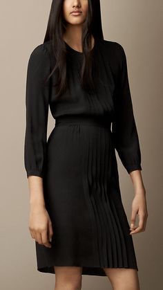 Burberry Brit Pleat Detail Crepe Dress