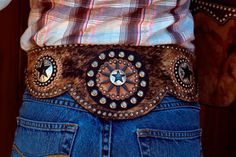 Classic leather designs belt. Cowhide, rowels, conchos, antique nickel spots, handmade buckle with rowel - $350 - $375