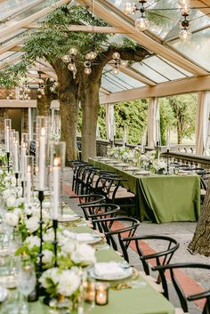 Romantic garden-inspired reception with candles and green decor. Photo: @515photoco Graydon Hall Manor, Manor Garden, Town And Country, Garden Wedding, Pergola, Outdoor Structures, Table Decorations, Inspiration, Instagram
