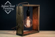 Wood Frame Table Lamp With Brass Socket Cottage Style