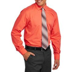 Big Men's 2-Piece Solid Dress Shirt and Tie Set, Size: 3XL, Red