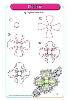 Draw Flower Patterns Chainey by Gaylene Miller - Zentangle Drawings, Doodles Zentangles, Doodle Drawings, Doodle Art, Zen Doodle Patterns, Zentangle Patterns, Doodle Borders, Zantangle Art, Op Art