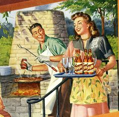 antique 1947 pinup barbecue advertisement by FrenchFrouFrou, $12.95