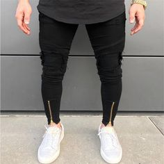 2018 New Men Ripped holes jeans Zip skinny biker jeans black white jeans with Pleated patchwork slim fit hip hop jeans men pants Black And White Jeans, Black Jeans Men, Ripped Jeans Men, Men's Jeans, Denim Pants, Black Skinnies, Skinny Biker Jeans, Skinny Guys, Biker Pants