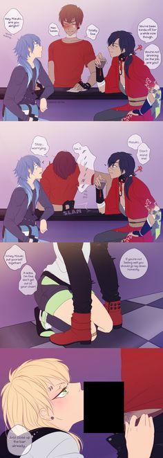 Koujaku and Aoba, Mizuki and Noiz genderbend. 3:))) x3333 <3<3<3<3 love it but wish it wasn't fem!