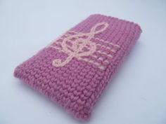 Purple Treble Clef crochet case sleeve cover for by JillAndJoeys, $17.00