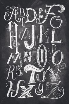 Digital chalk dropcap alphabet