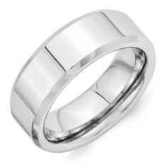 Men's Beveled Edge 8MM Polished Finish Vitalium Ring Available Exclusively at Gemologica.com