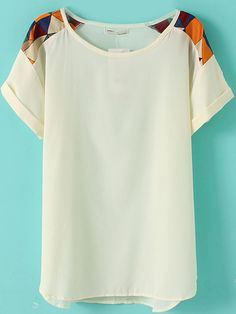 White Short Sleeve Geometric Print Shoulder Chiffon T-Shirt