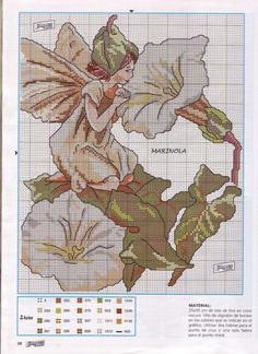 Cross stitch - fairies: White bindweed fairy - Cicely Mary Barker - close-up segment (chart)