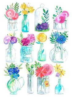 This is a digital print of my original watercolor and white india ink Glass Jars illustration! Printed on 216 gr textured paper, inches. Watercolor Cards, Watercolor Illustration, Watercolour Painting, Watercolor Flowers, Painting & Drawing, Watercolors, Flower Art Drawing, Canvas Art, Canvas Prints