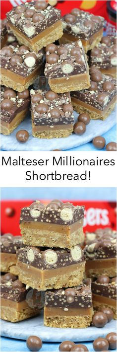 Malt Biscuit Base, Homemade Caramel Filling, and Malteser Spread Chocolate with Maltesers. The BEST Malteser Millionaires Shortbread! So… Millionaires Shortbread is one of my most. Tray Bake Recipes, Baking Recipes, Cake Recipes, Dessert Recipes, Pudding Recipes, Brownie Recipes, Dessert Ideas, Chocolate Recipes, Yummy Treats