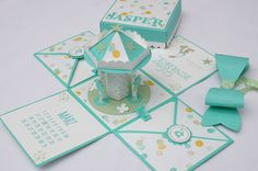 Stampin up, explosionsbox, Karussell, Baby, jade