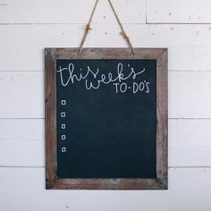 This blackboard is the perfect sized chalkboard to hang in your house with an inspirational quote or the menu for tonight