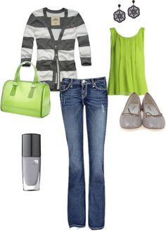 """green and grey"" by robinelletson on Polyvore"