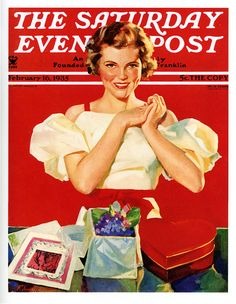 A beautiful 1935 Valentine's Day themed Saturday Evening Post cover. `