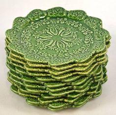 Bordallo Pinneiro Portugal Green Plates