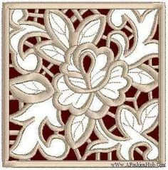 Roses Cutwork Lace Embroidery Designs Square Rose – Fashion
