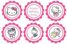 Printable Birthday Cupcake Toppers Hello Kitty Theme