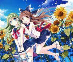 anime illustration, sunflowers 🌻