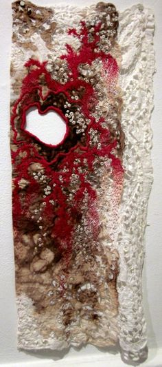 Could be embroidery over a fabric stain and tear. myb Erin Endicott, in exhibition Mending=Art, Fiber Philadelphia Needle Felted, Nuno Felting, Textile Fiber Art, Textile Artists, Embroidery Designs, Motifs Textiles, Textiles Techniques, Fabric Manipulation, Felt Art