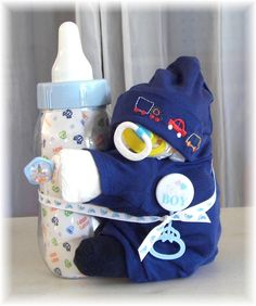 Baby Shower~ Diaper Baby Boy Holding His Bottle. $32.99, via Etsy.