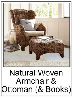 I like comfy places to sit and read. I like to put my feet up, I like a nice view. These two pieces fit my needs and I like the tactile feel and look they offer my bedroom - the natural woven Seagrass Wingback Armchair and Ottoman, are also from Pottery Barn. #pottery_barn_seagrass_wingback_armchair, #bedroom_seating_area, #how_to_create_a_reading_area,