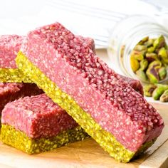 Pistachio Raspberry Energy Bars- The perfect quick healthy snack that tastes just like dessert! (Gluten & dairy free, vegan & paleo.)
